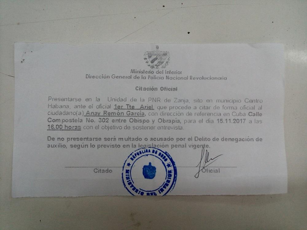 Citación de Anay Remón, periodista en Cubanet. Foto: Cubalex.