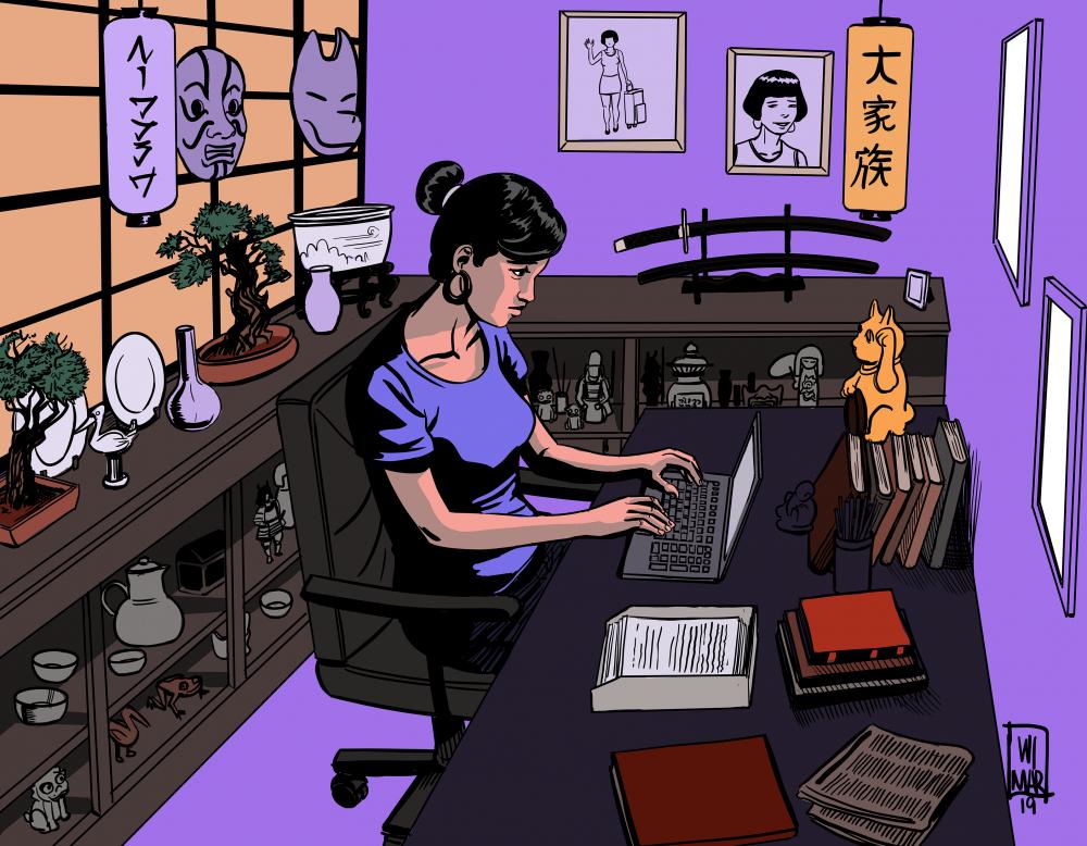 Ilustración de WiMar sobre la escritora Nancy.