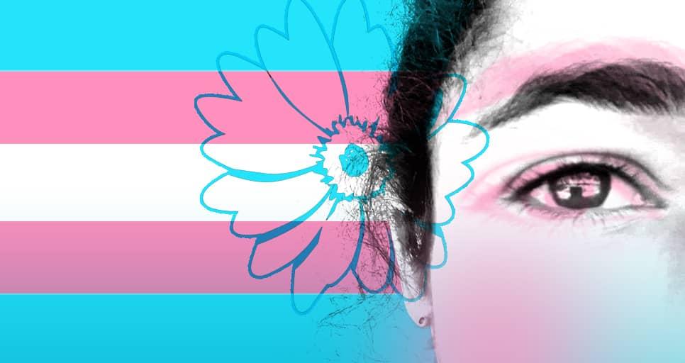 Pie de foto: Mel Herrera y la bandera trans. Ilustración de Roberto Ramos Mori